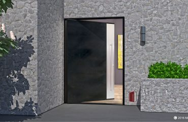 modern steel entry door made of blackened stainless steel and brushed stainless vertical accent panel with stainless round hardware