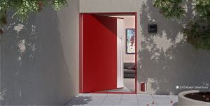 modern accent front door made of red powder coated metal and brushed stainless steel vertical accent panel with matching door pulls