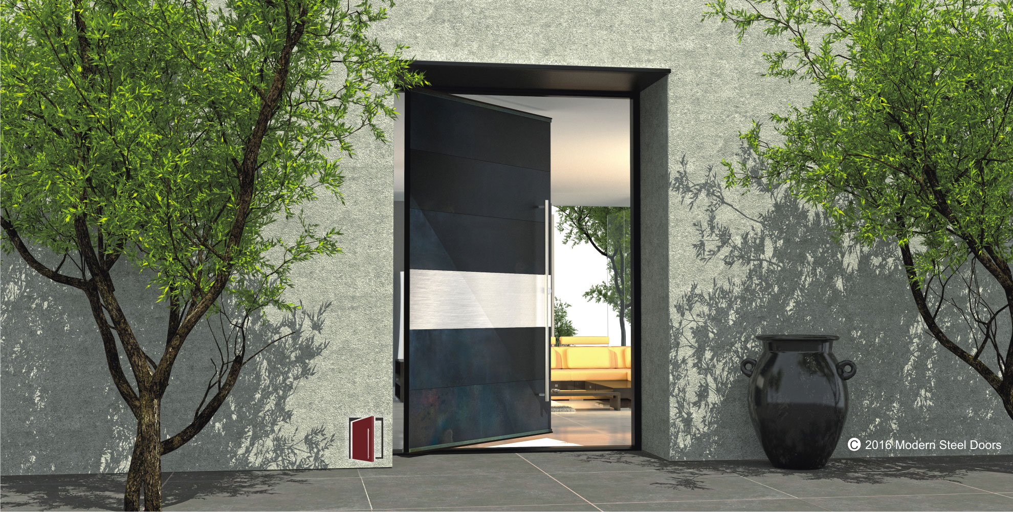 modern pivot entry door made of blackened stainless metal with horizontal stainless steel accent panel and matching accent hardware