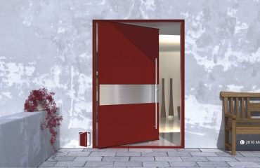 red accent front door made of metal and stainless steel horizontal accent strip with round stainless steel door pulls