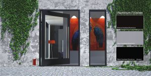 modern pivot entry door made of metal and glass with round stainless steel door pulls and sidelight