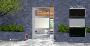 affordable front door made of aluminum silver metal and frosted glass with round stainless steel door hardware