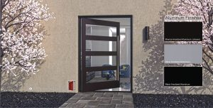 affordable modern front door made of aluminum and glass with round brushed stainless steel door pulls
