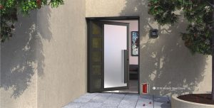 modern entry pivot door made of metal and frosted glass with matching door hardware