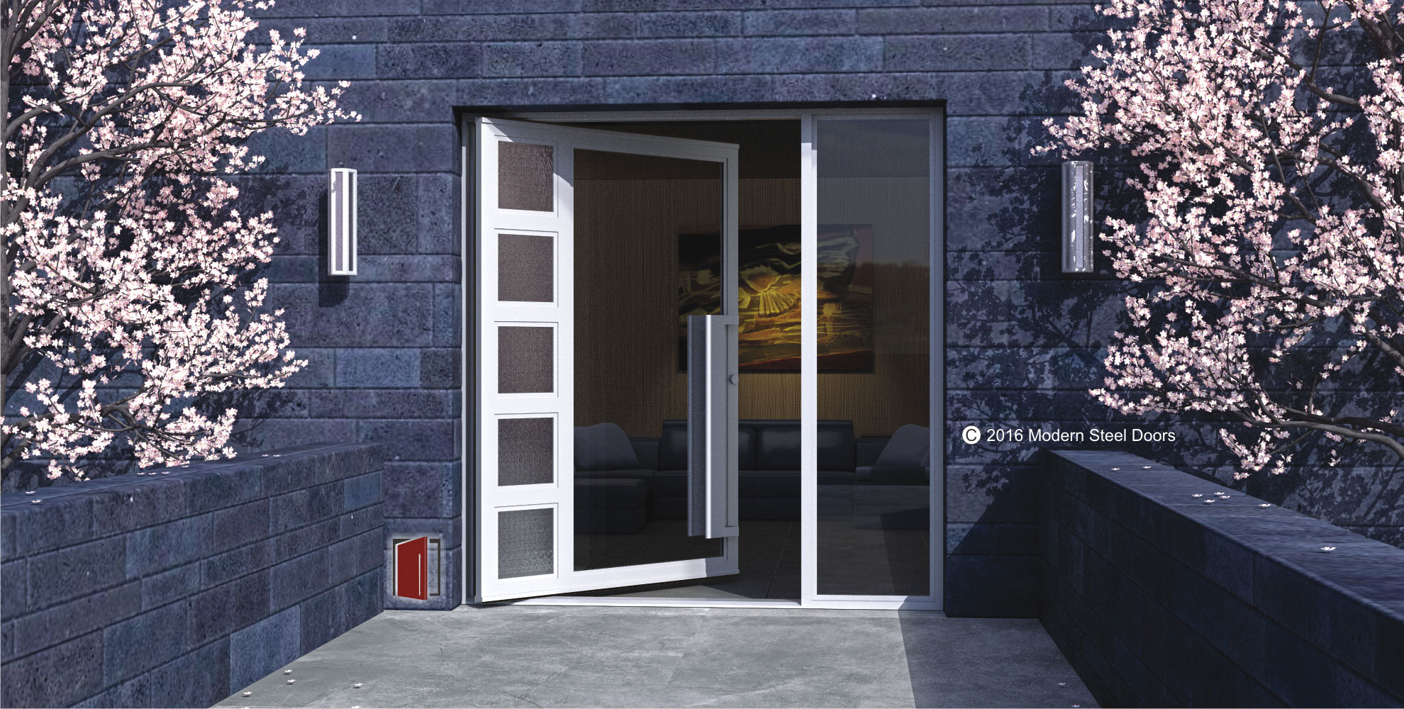 modern front door design made of tinted glass and detailed glass with matching door hardware and tinted sidelight