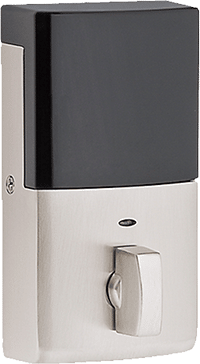baldwin evolved interior front door dead bolt smart lock in satin nickel