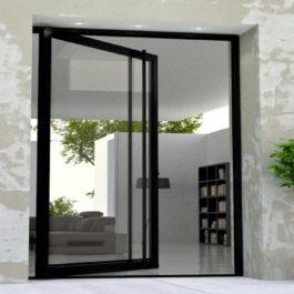 modern entry door made of glass and black steel with matching round door length door handles