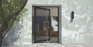 black modern front door made of glass and round stainless steel door length door handles