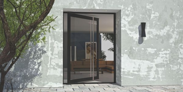 black modern front door made of glass and round stainless steel door length door handles