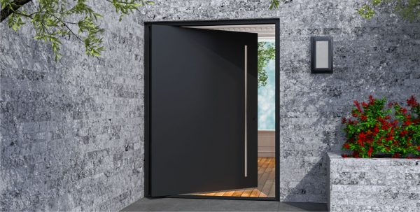 modern front door made of black metal with round stainless steel door pulls