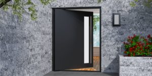 black metal entry door with lite and round stainless steel door handles