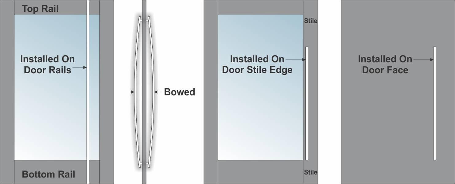 BOWED DOOR PULL DRAWING.