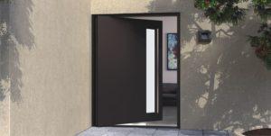 bronze metal front door with round stainless steel door pull with lite