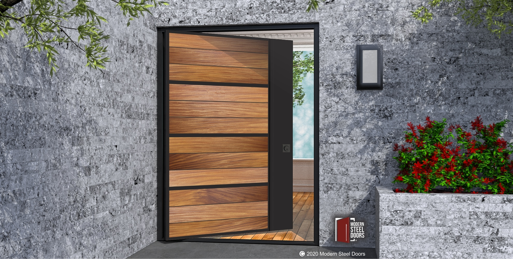 OUR BRYCE DESIGN HAS HORIZONTAL WOOD PLANKS, DOOR WITH METAL ACCENTS & BUILT-IN METAL HARDWARE
