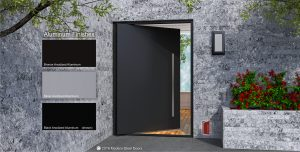budget modern front door made of aluminum black metal with round stainless steel door hardware