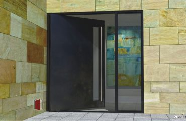 blackened stainless modern exterior door with sidelight and stainless steel round door handles