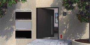 bronze aluminum metal pivot door with round stainless steel modern door pulls