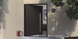 CONTEMPORARY METAL ENTRY DOOR WITH WOODEN HARDWARE