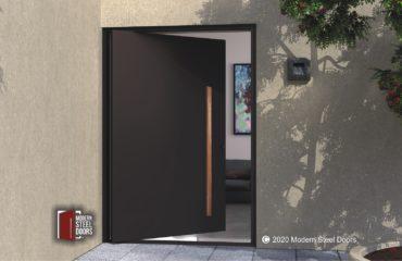 CONTEMPORARY METAL ENTRY DOOR WITH WOODEN HARDWARE