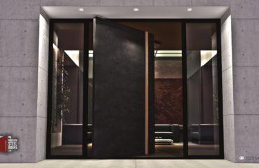 CUSTOM WOOD DOOR HANDLES ON MODERN METAL ENTRY DOOR