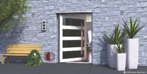 hardwood custom door handles an glass and steel entry door