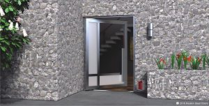 crosshatch design single pivot door made of clear and frosted glass with matching silver hardware on stone home