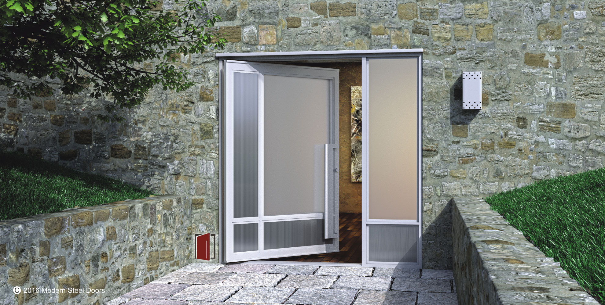 tall pivot front door design made of frosted glass with matching door handles and sidelight