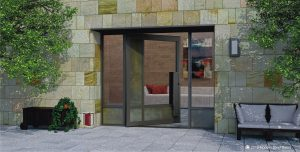 residential contemporary exterior door made of glass and metal with handmade door hardware and sidelights