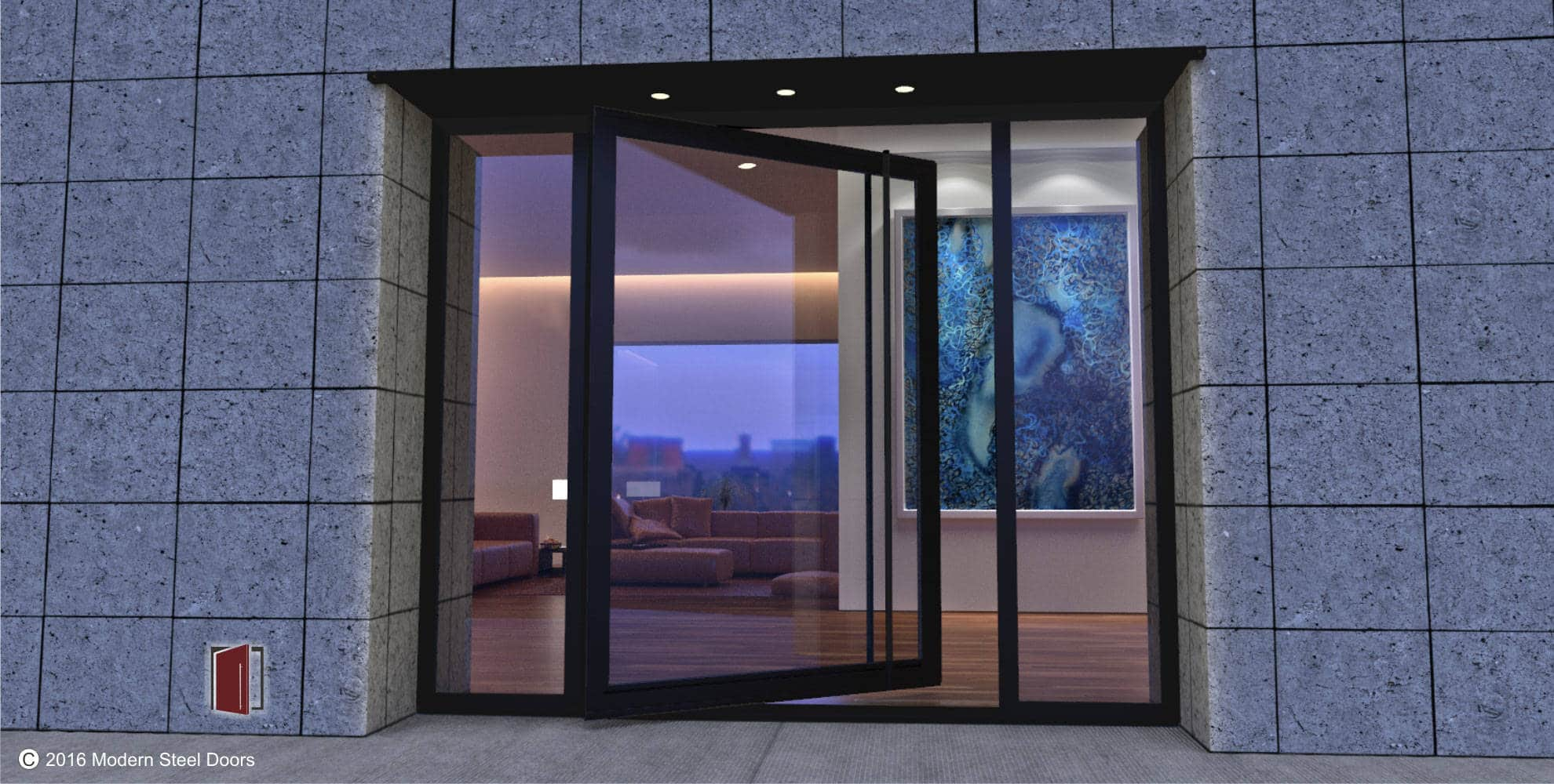 full view high end glass pivot front doors handmade in USA