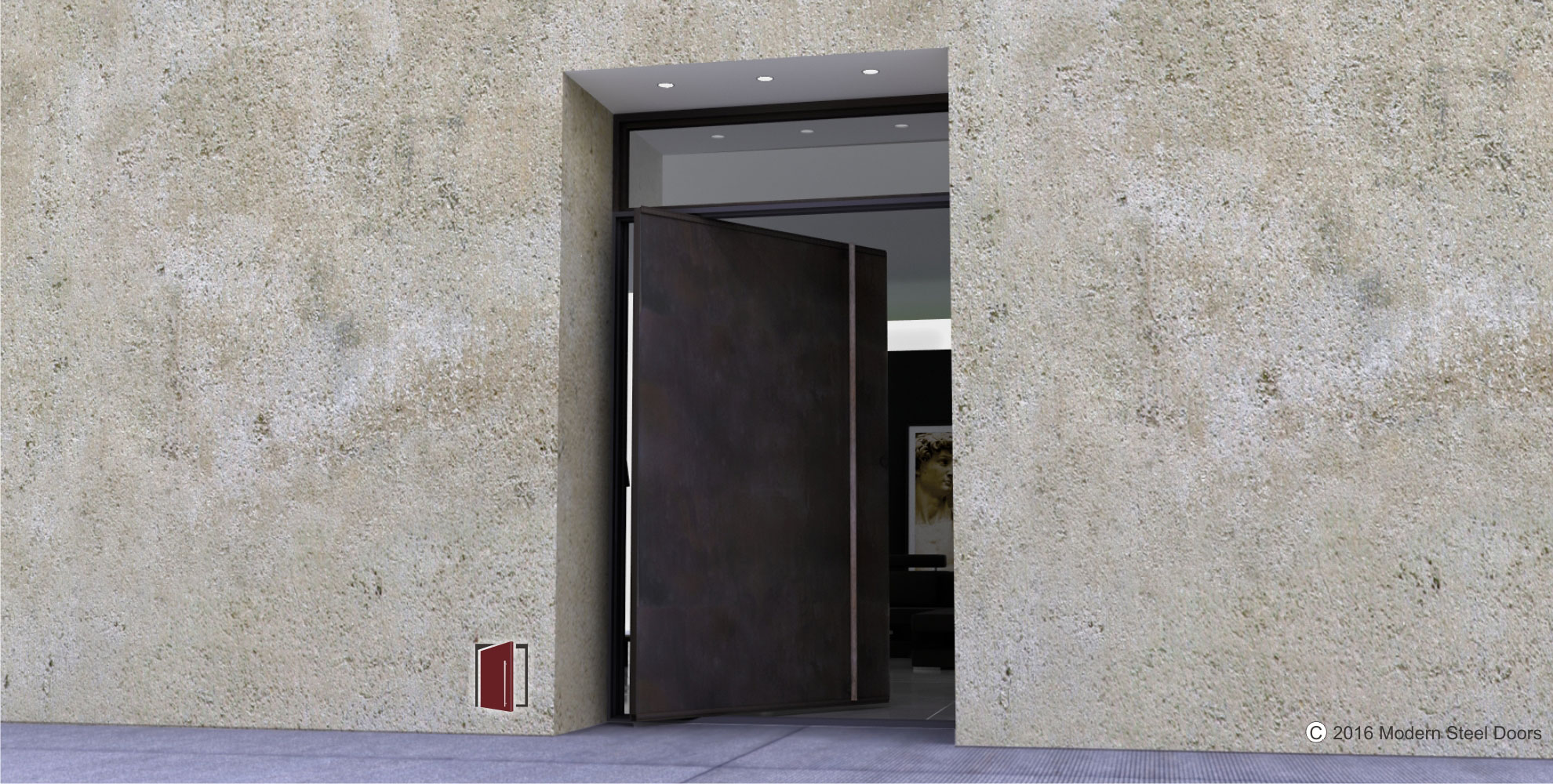 dark gray metal pivot front door with round custom made modern door hardware and transom