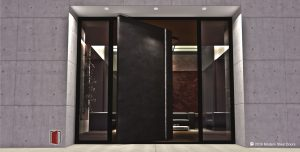 modern front door design made of dark gray tarnish metal with round polished door pulls and sidelights