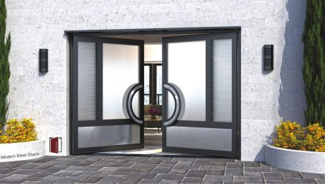 modern front double door made of different opacities of glass and curved stainless door handles