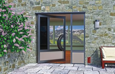 modern single front door made of color glass with curved door pulls and sidelight on home entrance