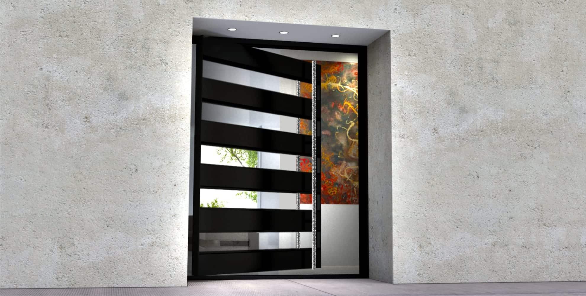 glass and steel modern entry door with door length polished custom door hardware