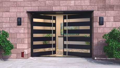double pivot front doors for modern houses made of glass and black metal with polished square custom door hardware