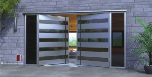 edge double door made of tinted glass and metal for modern houses with black round door hardware and tinted sidelights