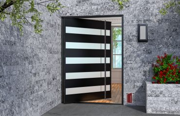 modern home exterior door made of black metal and frosted glass panels with full length round custom door pulls
