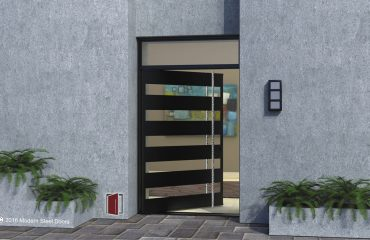 Edge Single Door with Round Polished Faceted Door Length Pulls & Transom