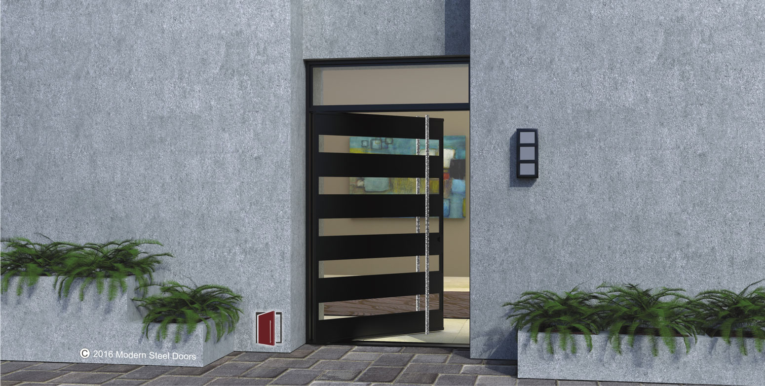 black edge pivot front door made of glass and metal with custom modern door handles and frosted glass transom