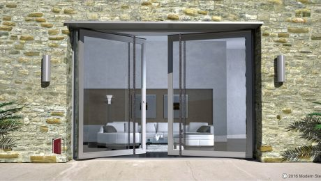 full view modern entry door made of glass and steel with round long custom designed modern door hardware