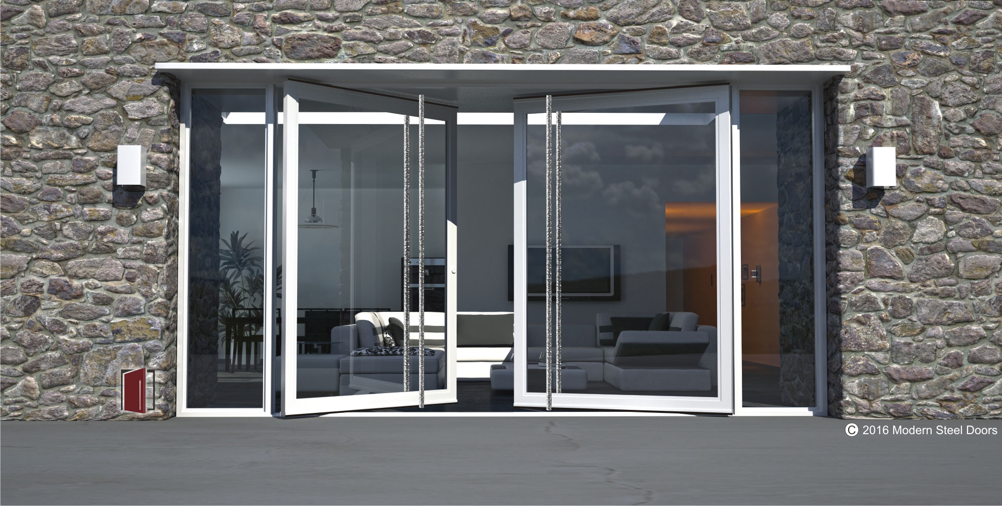 modern exterior double doors with full length round polished custom door hardware and sidelights