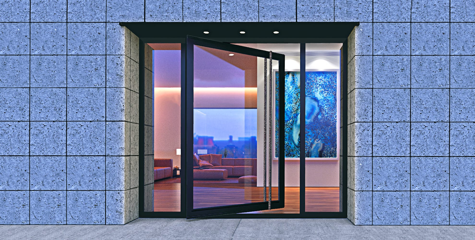 pivot modern front door made of glass and steel with long custom door handles and sidelights