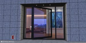 full view minimalist glass front door with long black round door pulls and tall sidelights