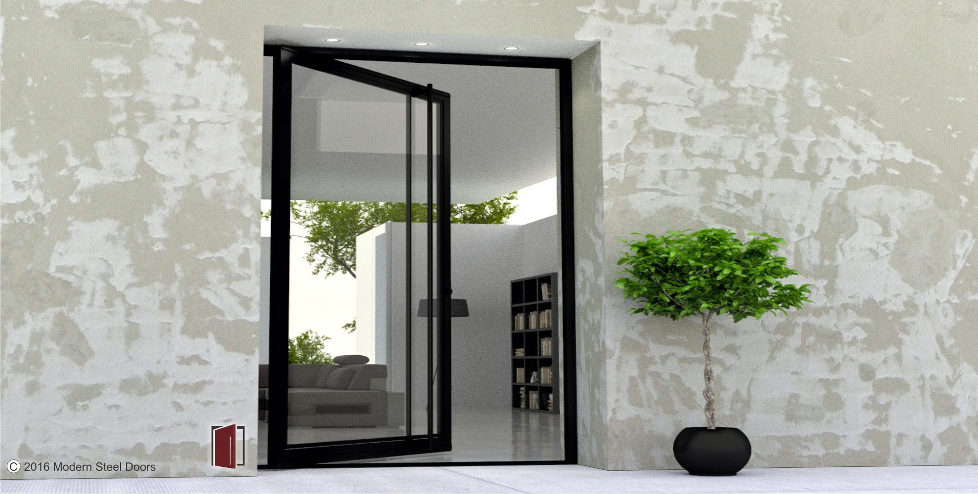 minimalist pivot front door made of black metal and glass with full length black round door pulls