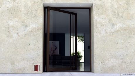 contemporary new front door for modern home made of glass and bronze steel with matching long round door handles