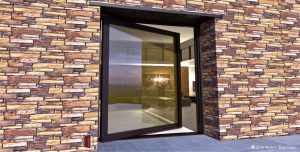 large sophisticated front door made of glass and bronze metal with matching bronze hardware