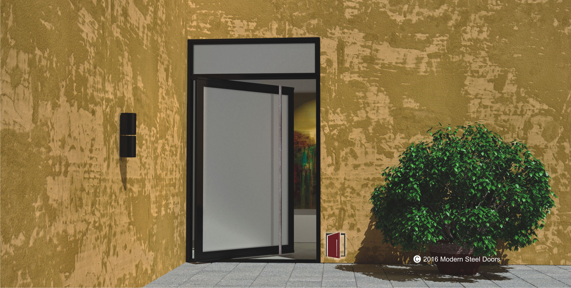 full view single pivot front door made of frosted glass with round custom door handles and matching transom