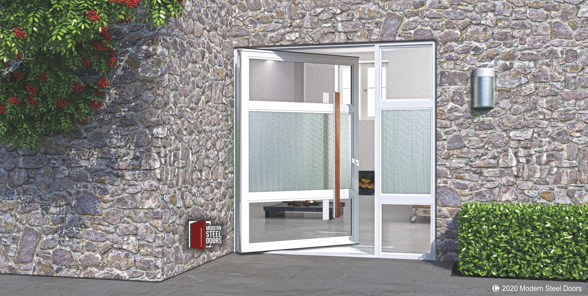 GLASS AND METAL ENTRY DOOR WITH WOODEN HARDWARE PULLS