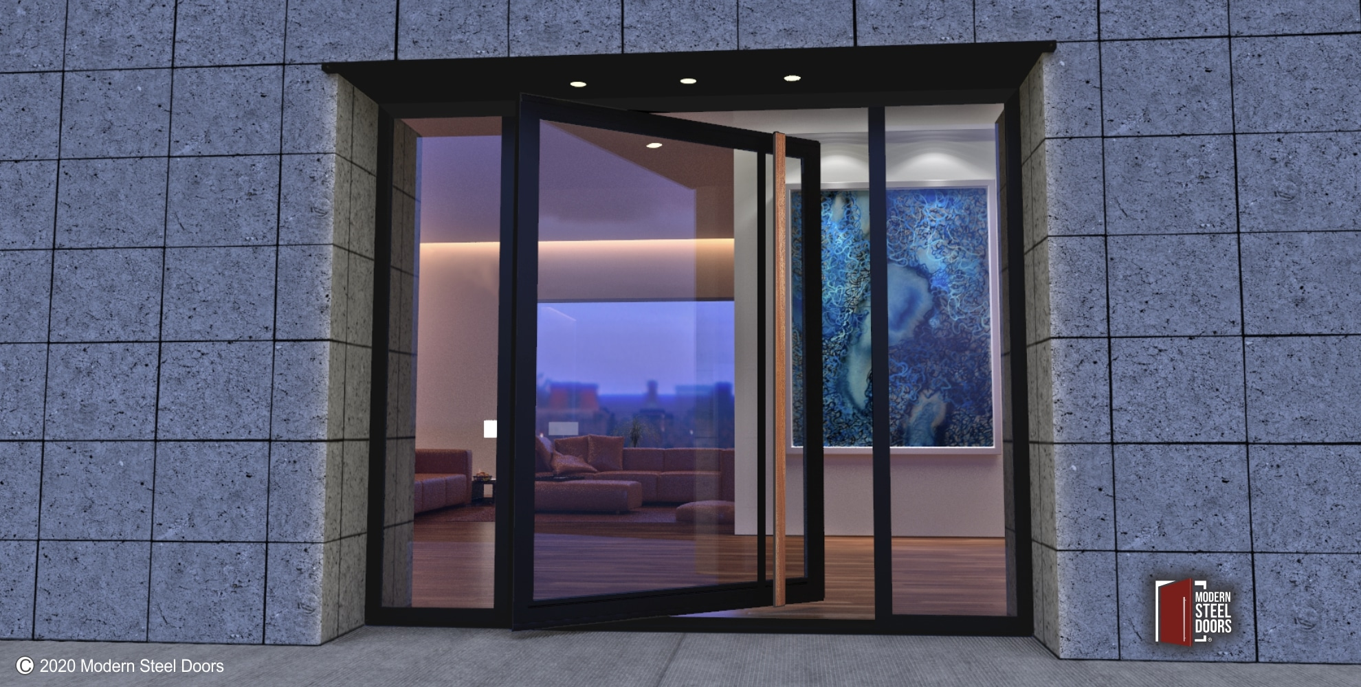 GLASS ENTRANCE DOOR WITH WOOD HARDWARE AND SIDELIGHTS