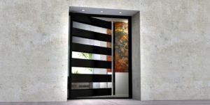modern front door made of glass and steel with custom door length handles